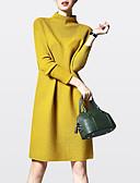 hesapli Sweater Dresses-Kadın's Büyük Bedenler Dışarı Çıkma Günlük Örgü İşi Elbise - Solid Boğazlı Diz üstü