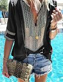 baratos Vestidos Estampados-Mulheres Camisa Social Básico Riscas Algodão Decote V Solto