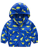 billige Jakker og frakker til drenge-Baby Drenge Aktiv Daglig Ensfarvet / Geometrisk Langærmet Normal Polyester dun- og bomuldsforet Blå