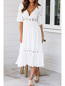cheap Women's Dresses-Women's Daily / Beach Basic Swing Dress - Solid Colored Lace / Patchwork Summer White M L XL