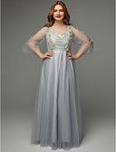 Χαμηλού Κόστους Φορέματα ειδικών περιστάσεων-Γραμμή Α Λαιμόκοψη V Μακρύ Τούλι Χοροεσπερίδα Φόρεμα με Κέντημα / Ζώνη / Κορδέλα με TS Couture® / Ψευδαίσθηση