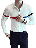 cheap Men's Sweaters & Cardigans-Men's Slim Shirt - Color Block Classic Collar / Long Sleeve