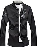 levne Pánské košile-Pánské - Květinový Košile Černá 4XL-US44 / UK44 / EU52 / Dlouhý rukáv