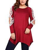זול חולצה-הנשים של אסיה גודל רזה חולצה - מוצק צבע צוואר עגול