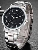 hesapli Paslanmaz Çelik-Erkek Elbise Saat Quartz Paslanmaz Çelik Gümüş Su Resisdansı Gece Parlayan Analog Klasik Günlük Moda - Beyaz Siyah