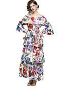olcso Print Dresses-Női Ízléses / Elegáns Flare Sleeve Swing Ruha - Fodrozott / Nyomtatott, Virágos Maxi