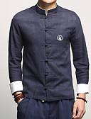 billige Herreskjorter-Herre - Ensfarvet Bomuld / Hør Plusstørrelser Skjorte Sort XXXL / Høj krave / Langærmet