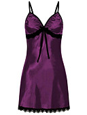 cheap Sexy Bodies-Women's Satin & Silk / Suits Nightwear - Lace / Mesh Solid Colored