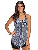 cheap Black & White Swimwear-Women's Basic Strap Blue White Wrap Boy Leg Tankini Swimwear - Striped Backless Criss Cross XL XXL XXXL Blue / Sexy