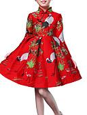 お買い得  マキシドレス-子供 女の子 ベーシック フラワー 長袖 ドレス ルビーレッド