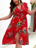 hesapli Print Dresses-Kadın's Büyük Bedenler Kumsal Zarif Kombinezon Tunik Şifon Elbise - Çiçekli, Fırfırlı Çiçek Desen Derin V Diz üstü / Sexy