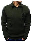 billige Jakker og frakker til herrer-Herre Daglig Ensfarget Langermet Normal Pullover Svart / Militærgrønn / Lyseblå L / XL / XXL