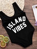 Χαμηλού Κόστους Μαγιό για κορίτσια-Νήπιο Κοριτσίστικα χαριτωμένο στυλ Παραλία Στάμπα Στάμπα Αμάνικο Πολυεστέρας Μαγιό Μαύρο
