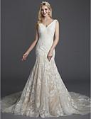 olcso Menyasszonyi ruhák-Sellő fazon V-alakú Udvari uszály Csipke Made-to-measure esküvői ruhák val vel Rátétek / Csipke által LAN TING BRIDE®