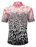 levne Pánské košile-Pánské - Květinový / Leopard / 3D Plážové Základní / Cikánský Košile, Tisk Světlá růžová L / Krátký rukáv / Léto