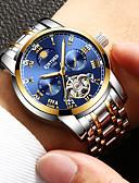 cheap Mechanical Watches-Men's Wrist Watch Quartz Black / Silver / Gold Calendar / date / day Analog Fashion - Gold Black Silver / Stainless Steel