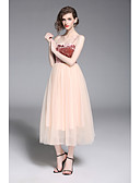 cheap Prom Dresses-A-Line Spaghetti Strap Tea Length Tulle Formal Evening Dress with Ruffles by LAN TING Express