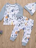 Χαμηλού Κόστους Βρεφικά Για Αγόρια σετ ρούχων-Μωρό Κοριτσίστικα Ενεργό Καθημερινά Στάμπα Μακρυμάνικο Κανονικό Πολυεστέρας Σετ Ρούχων Λευκό