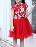 levne Print Dresses-Děti Dívčí Vintage / Čínské vzory Květinový / Patchwork Síťka / Výšivka Krátký rukáv Bavlna / Polyester Šaty Rubínově červená