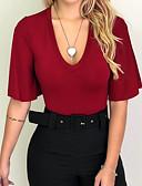 economico T-Shirt da donna-T-shirt Per donna Tinta unita A V Nero M / Taglia piccola