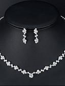 hesapli Print Dresses-Kadın's Kolye Küpe Tenis zinciri Avrupa moda Moda Yapay Elmas Küpeler Mücevher Gümüş Uyumluluk Düğün Nişan 1set
