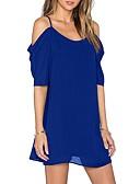 זול שמלות נשים-מותניים גבוהים מעל הברך שמלה שיפון שרוול עלי כותרת סגנון רחוב ליציאה חוף בגדי ריקוד נשים