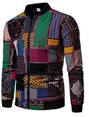 ราคาถูก แจ็กเก็ต &เสื้อโค้ทผู้ชาย-สำหรับผู้ชาย ทุกวัน พื้นฐาน ตก ปกติ แจ๊คเก็ต, ลายบล็อคสี คอแสตนด์ แขนยาว เส้นใยสังเคราะห์ สายรุ้ง L / XL / XXL