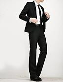 זול תחרה רומטנית-בגדי ריקוד גברים שחור L XL XXL חליפות אחיד דש קלאסי רזה / שרוול ארוך