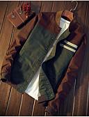 hesapli Erkek Kapşonluları ve Svetşörtleri-Erkek Günlük Sonbahar Kış Normal Ceketler, Zıt Renkli Yuvarlak Yaka Uzun Kollu Akrilik / Polyester Yonca / İnce