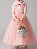 رخيصةأون ملابس الأميرات-فستان كم طويل لون سادة للفتيات أطفال