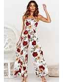 abordables Robes à Motifs-Femme Quotidien Chic de Rue Blanc Noir Combinaison-pantalon, Fleur Imprimé M L XL Sans Manches