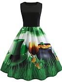 זול מלכת הוינטאג'-עד הברך דפוס שמלה סווינג וינטאג' בגדי ריקוד נשים