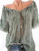 billige T-skjorter til damer-Bomull Løse skuldre Store størrelser Bluse Dame - Ensfarget Vin