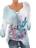 זול חולצה-גיאומטרי חולצה - בגדי ריקוד נשים פרחוני / לַחְצָן / דפוס / אביב / קיץ / סתיו / חורף