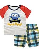 tanie Zestawy ubrań dla Chłopięce niemowląt-Dziecko Dla chłopców Podstawowy Codzienny Nadruk Krótki rękaw Regularny Regularny Bawełna Komplet odzieży Czerwony