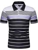 preiswerte Herren Polo Shirts-Herrn Gestreift EU- / US-Größe Polo, Hemdkragen Schlank Marineblau L / Kurzarm