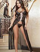 رخيصةأون القمصان وملابس النوم-نسائي مثير أرواب نوم ملابس نوم قياس كبير - دانتيل / شفاف / طويل, لون سادة أسود أرجواني XL XXL XXXL
