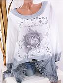 baratos Camisetas Femininas-camisa asiática do tamanho das mulheres - floral em volta do pescoço