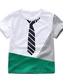 tanie Topy Chłopięce dla niemowląt-Dziecko Dla chłopców Podstawowy Nadruk Krótki rękaw Bawełna / Spandeks T-shirt Biały