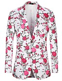 זול ז'קטים-פרחוני פעיל / בסיסי מתאים למעיל - בגדי ריקוד גברים דפוס ורוד מסמיק