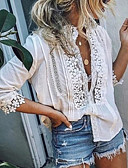 cheap Women's Shirts-Women's Holiday Lace Shirt - Solid Colored Lace Deep V White XXXL