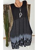 hesapli Print Dresses-Kadın's Büyük Bedenler Temel Kılıf Elbise - Yuvarlak Noktalı Geometrik, Dantel Fırfırlı Diz-boyu Yüksek Bel / Sexy