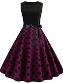 halpa Vintage-kuningatar-Naisten Katutyyli Tyylikäs Swing Mekko - Color Block, Painettu Polvipituinen