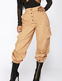 halpa Naisten puserot-Naisten Päivittäin Ohut Chinos housut Housut - Yhtenäinen Tasku Musta Armeijan vihreä Khaki M L XL