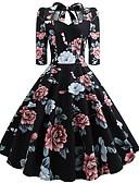 preiswerte Retro-Königin-Damen Party Arbeit Street Schick Anspruchsvoll Baumwolle Etuikleid Swing Kleid - Schleife, Blumen Verziert Midi U-Ausschnitt / Sexy