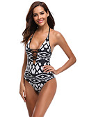 cheap One-piece swimsuits-Women's Strap Black Cheeky One-piece Swimwear - Geometric Backless Print M L XL Black / Sexy