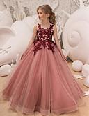 זול שמלות לבנות-שמלה מקסי ללא שרוולים אחיד ורד מאובק Party / חגים פעיל / מתוק בנות ילדים