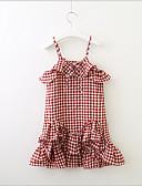 お買い得  女児 ドレス-幼児 女の子 甘い / かわいいスタイル チェック ノースリーブ ドレス ルビーレッド