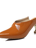 cheap Women's Coats & Trench Coats-Women's Patent Leather Spring & Summer Vintage Clogs & Mules Kitten Heel Pointed Toe Black / Brown / Burgundy / Party & Evening