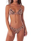 halpa Bikinis-Naisten Perus Olkaimellinen Ruskea Kolmia Stringit Bikini Uima-asut - Leopardi S M L Ruskea / Seksikäs